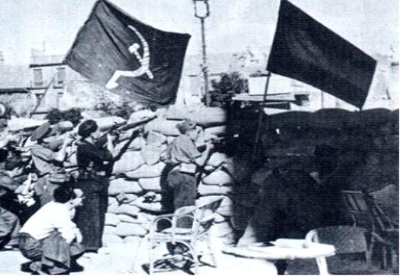 La bandera soviética identifica a los milicianos: Quinto Regimiento ...